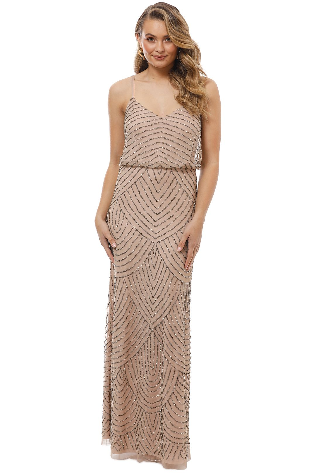 Adrianna Papell - Art Deco Beaded Blouson Gown - Taupe Pink - Front