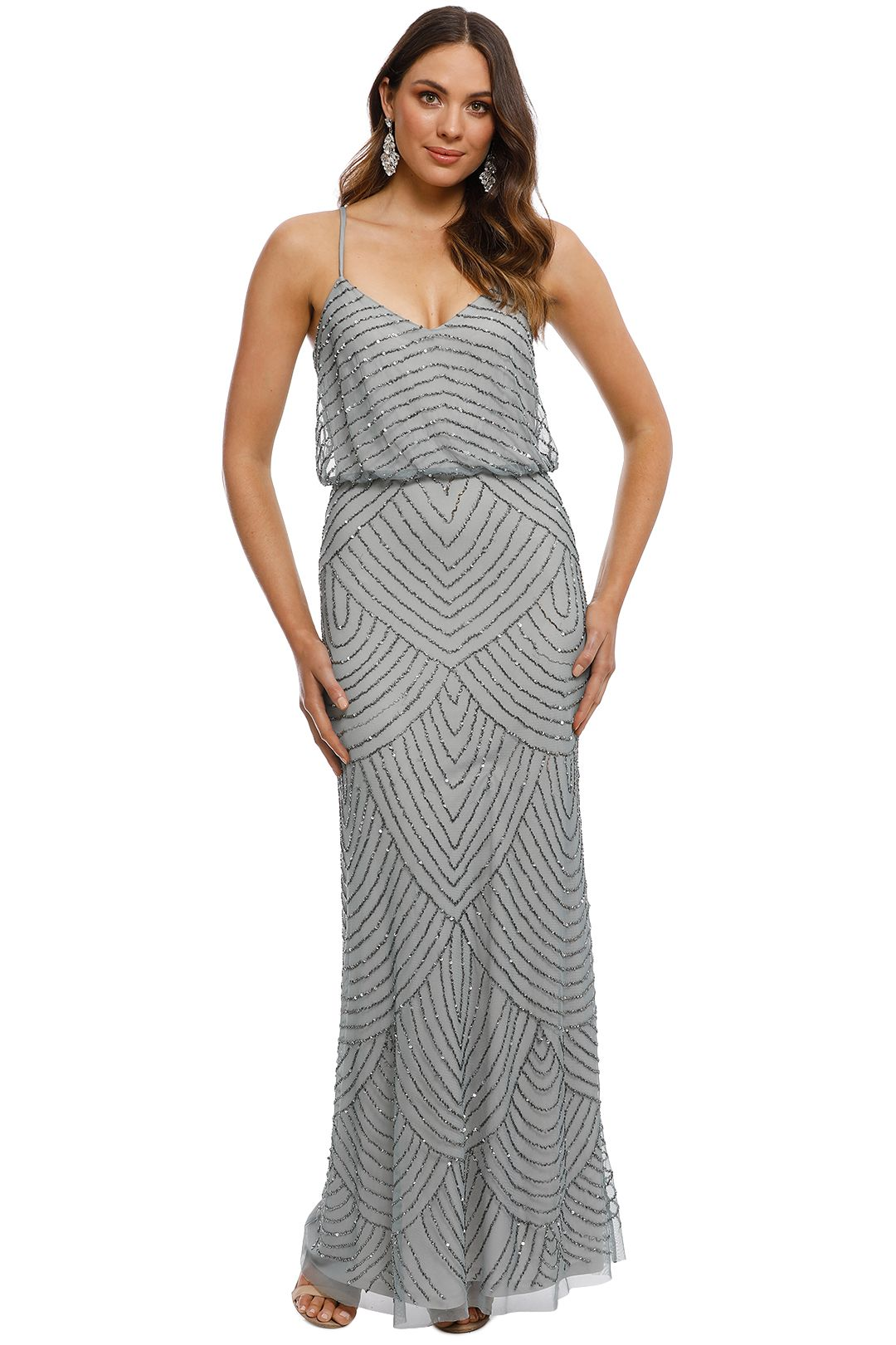 Adrianna Papell - Art Deco Beaded Gown - Dusty Blue - Front