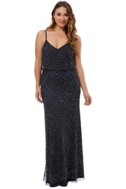 Adrianna Papell - Art Deco Beaded Gown - Navy - Front