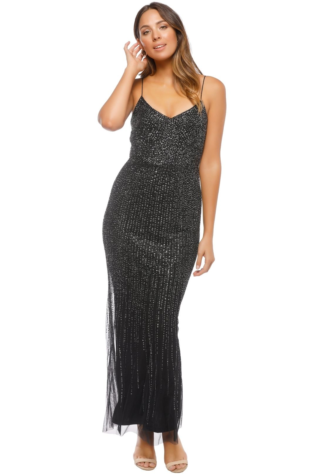 Adrianna Papell - Long All Over Beaded Dress - Black - Front