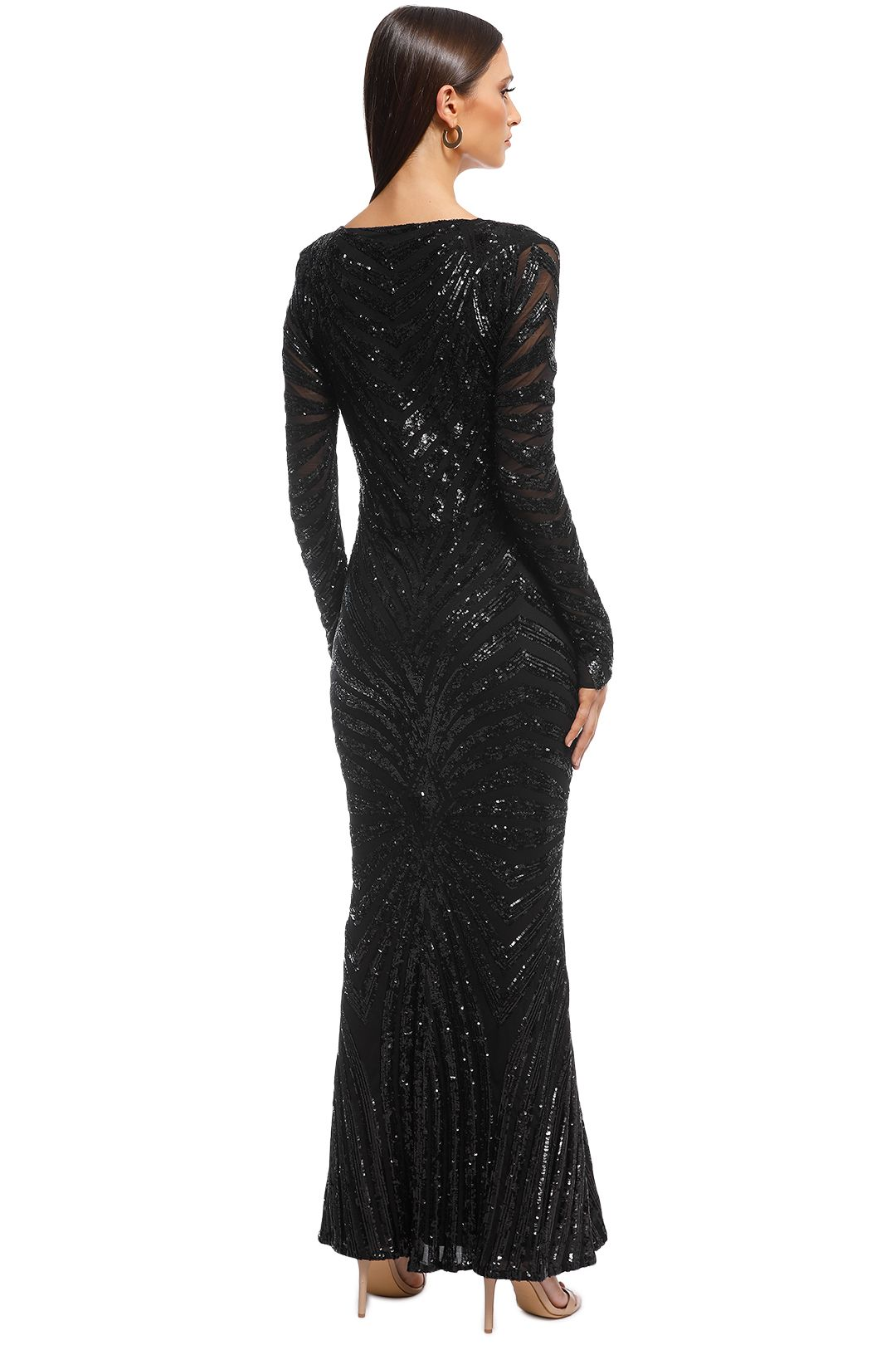 Ae'lkemi - Art Deco Sequin Gown - Black - Back