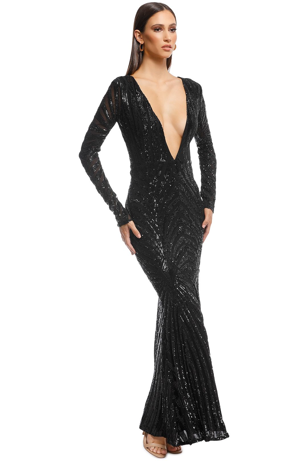 Ae'lkemi - Art Deco Sequin Gown - Black - Side