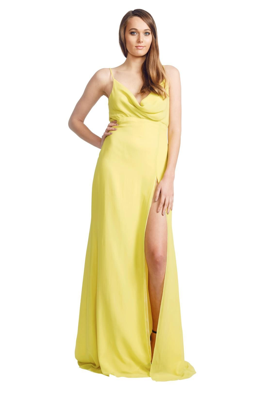 Ae'lkemi - Cowl Front Gown - Yellow - Front