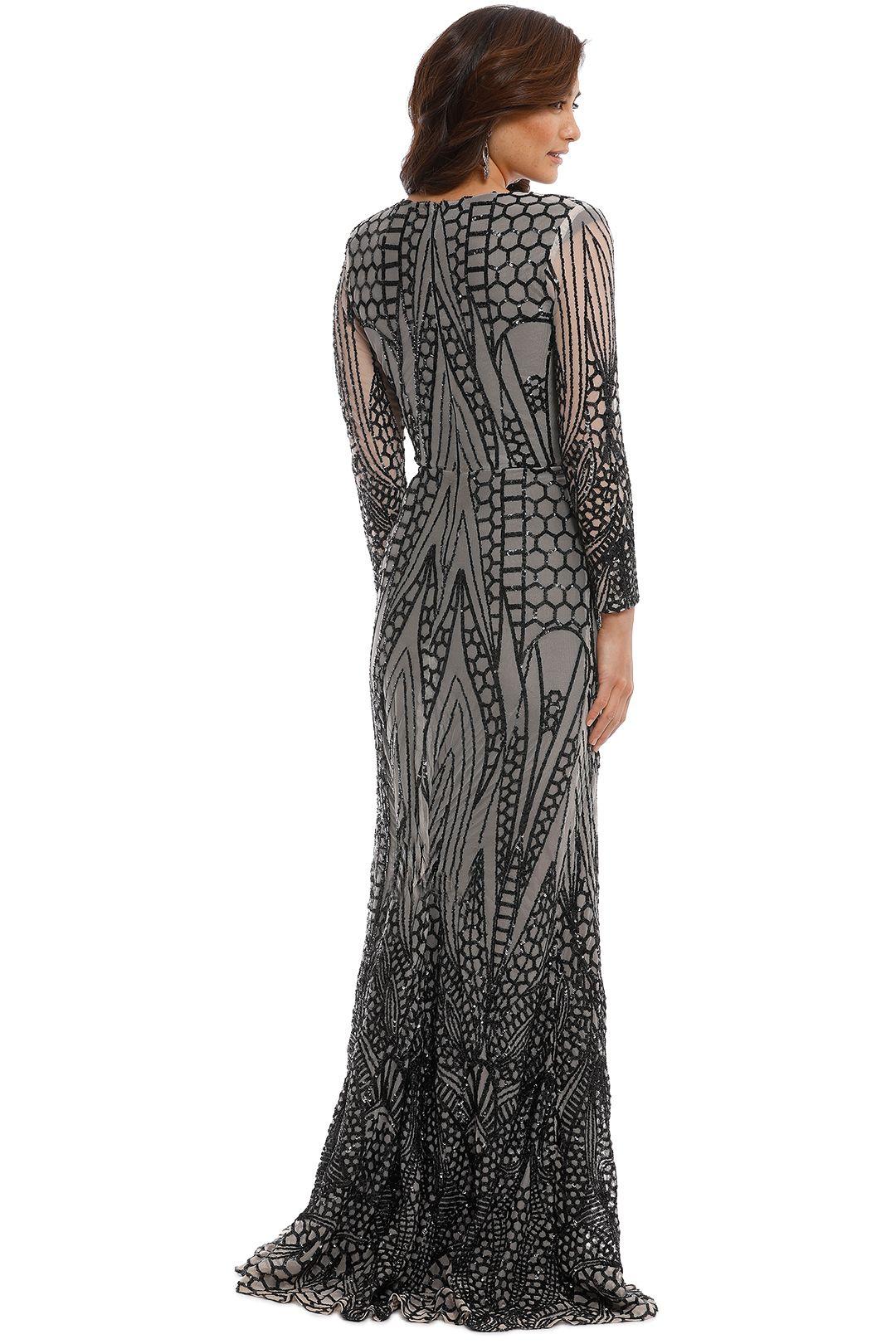 Ae'lkemi - V Plunge Embellished Gown - Black - Back