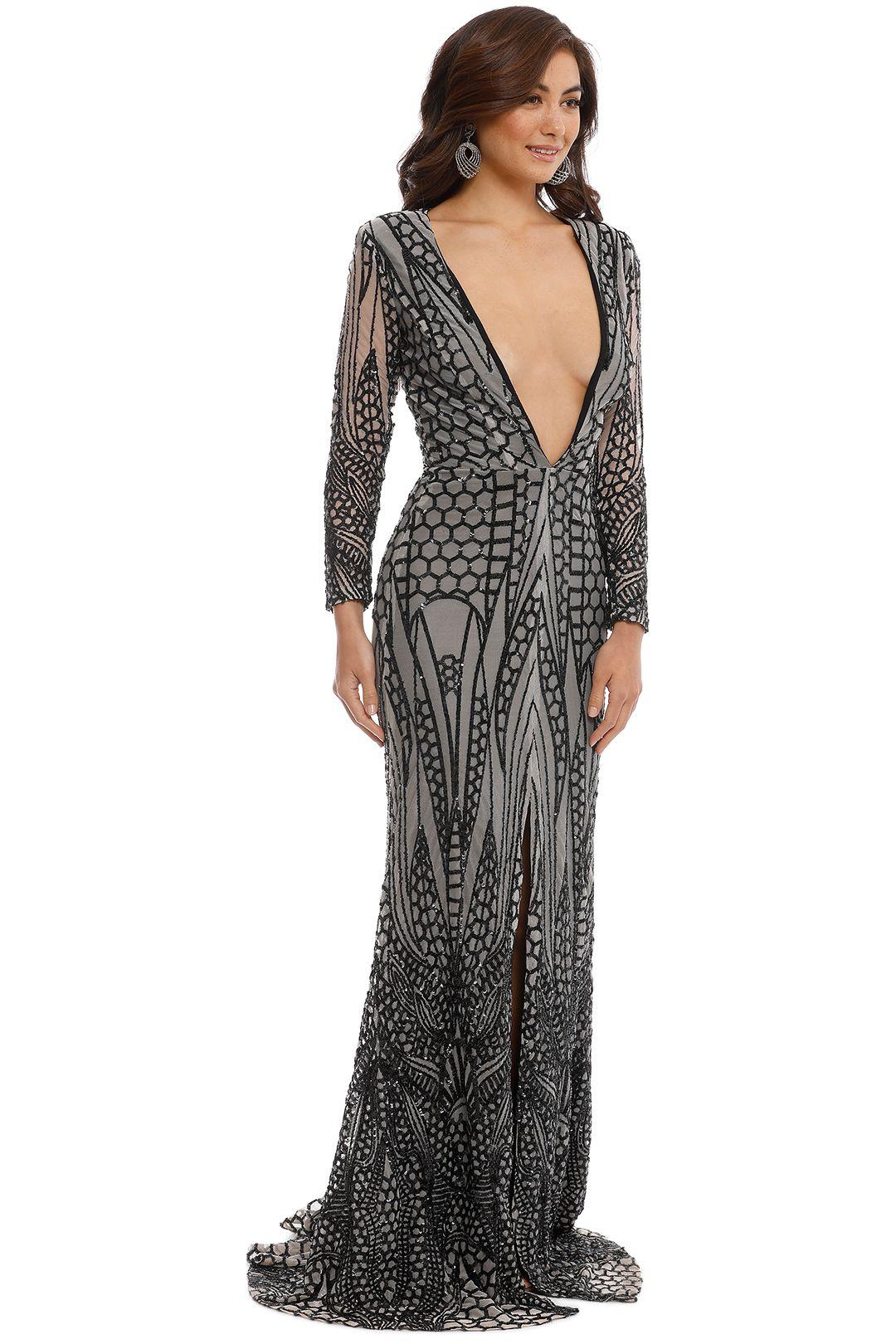 Ae'lkemi - V Plunge Embellished Gown - Black - Side