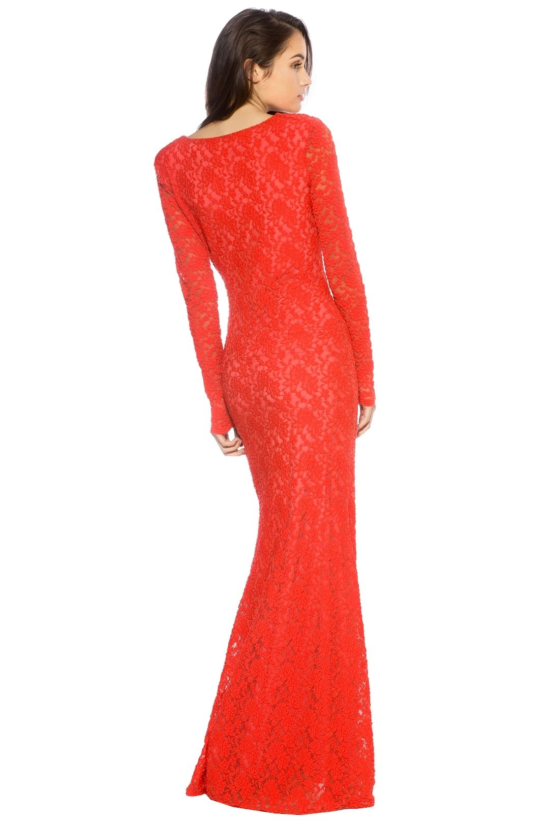 Ae'lkemi - V Plunge Red Long Sleeve Gown - Red - Back