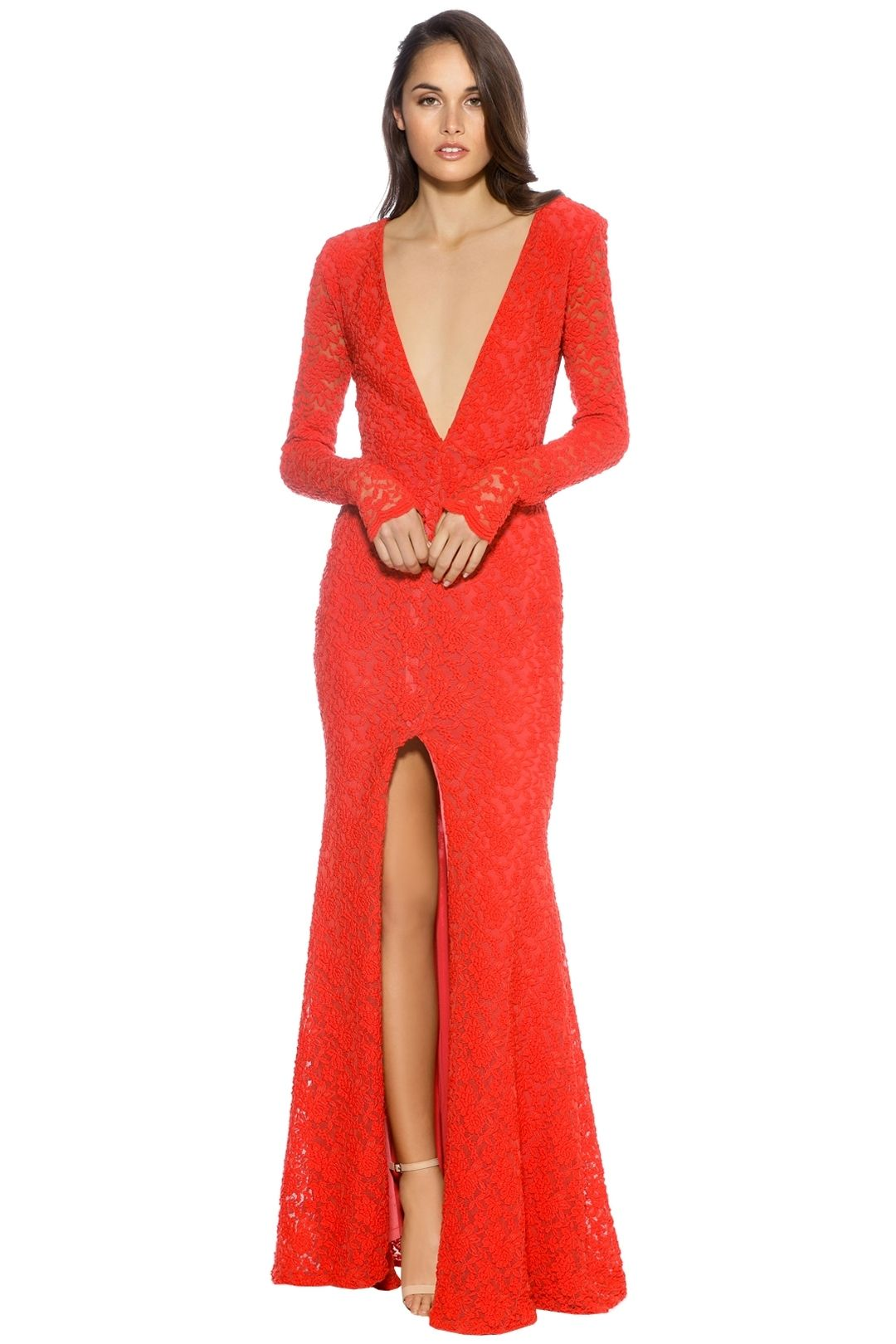 Ae'lkemi - V Plunge Red Long Sleeve Gown - Red - Front