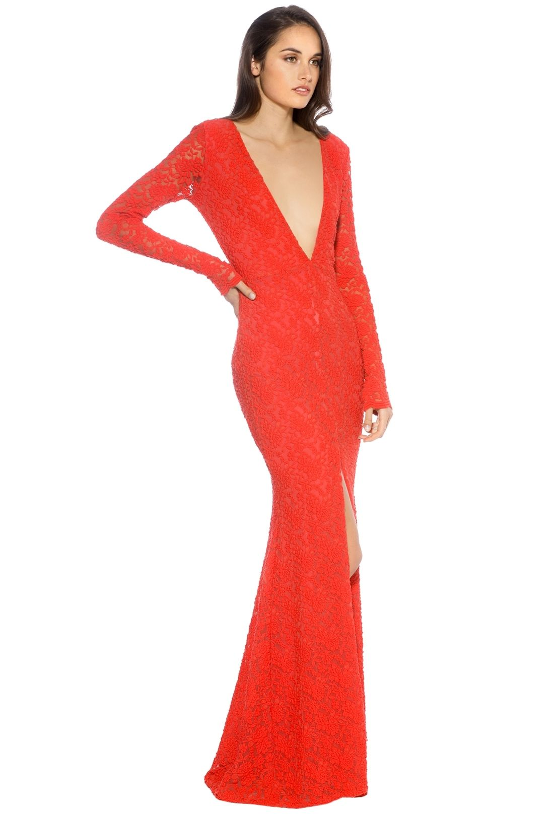 Ae'lkemi - V Plunge Red Long Sleeve Gown - Red - Side
