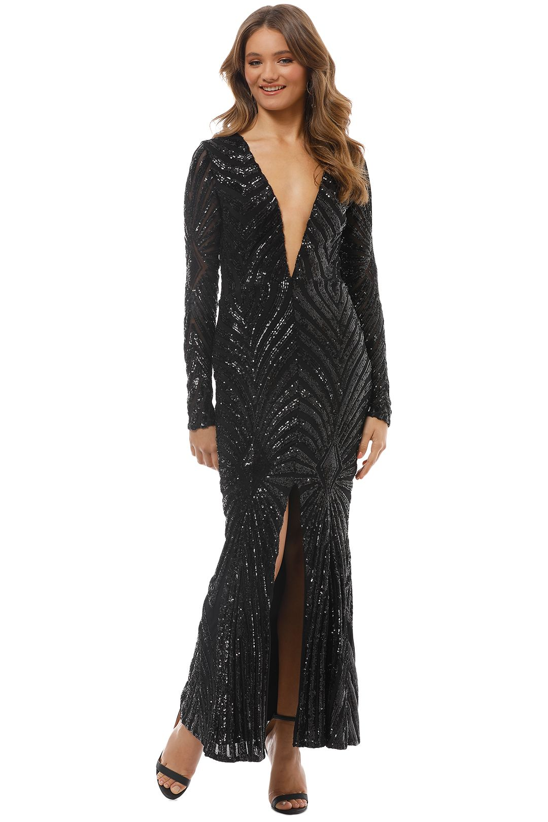 Ae'lkemi - Art Deco Sequin Gown - Black - Front