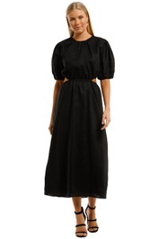 AERE Cut Out Maxi Dress Black Linen
