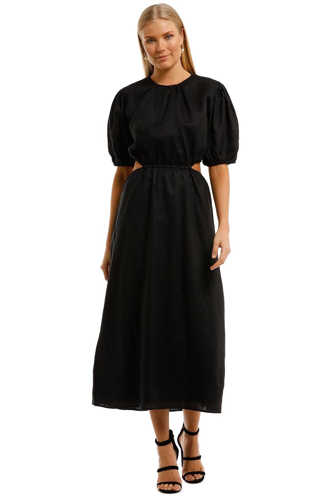 AERE Cut Out Maxi Dress Black Linen