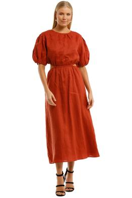 AERE Cut Out Maxi Dress Rust Puffy Sleeves
