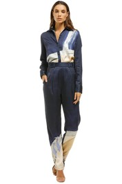 Aje-Chiltern-Trouser-Woman-in-Bath-Navy-Front