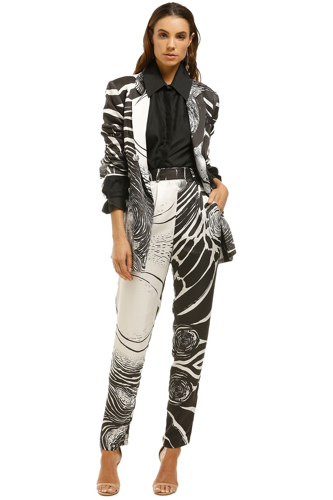 Aje-Downing-Blazer-Starry-Night-Black-White-Front