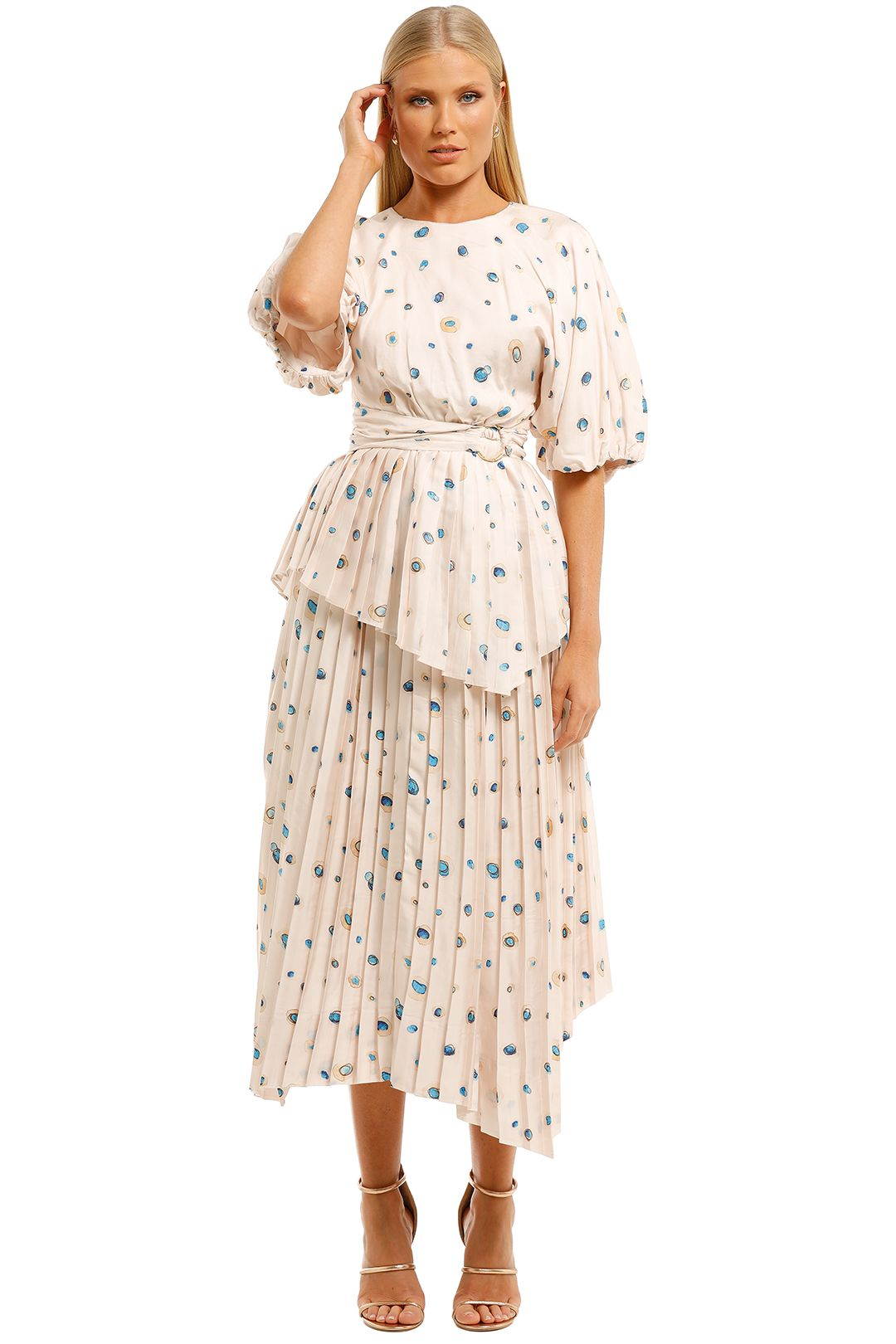 Aje-Overture-Pleat-Blouse-and-Skirt-Set-Blush-Print-Front