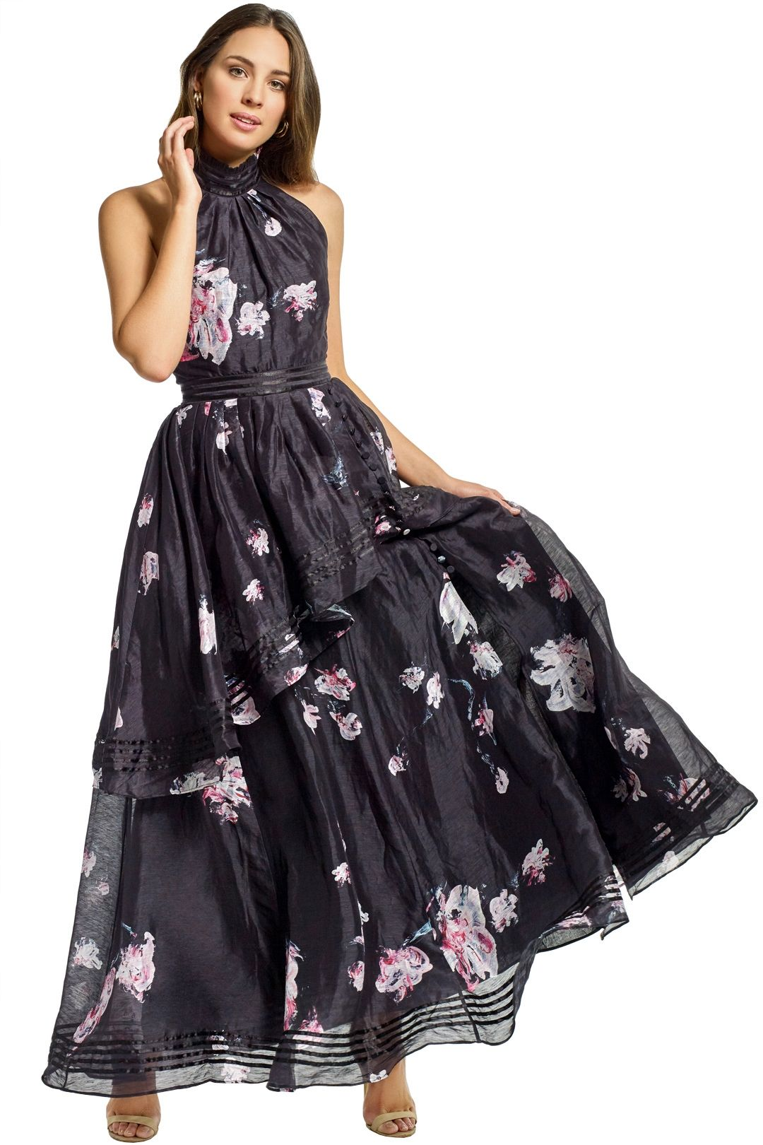 Aje - Sienna Dress - Black Floral - Front