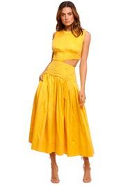 AJE Cascade Cut Out Dress yellow
