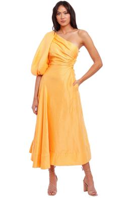 AJE Concept Linen Midi Dress one shoulder