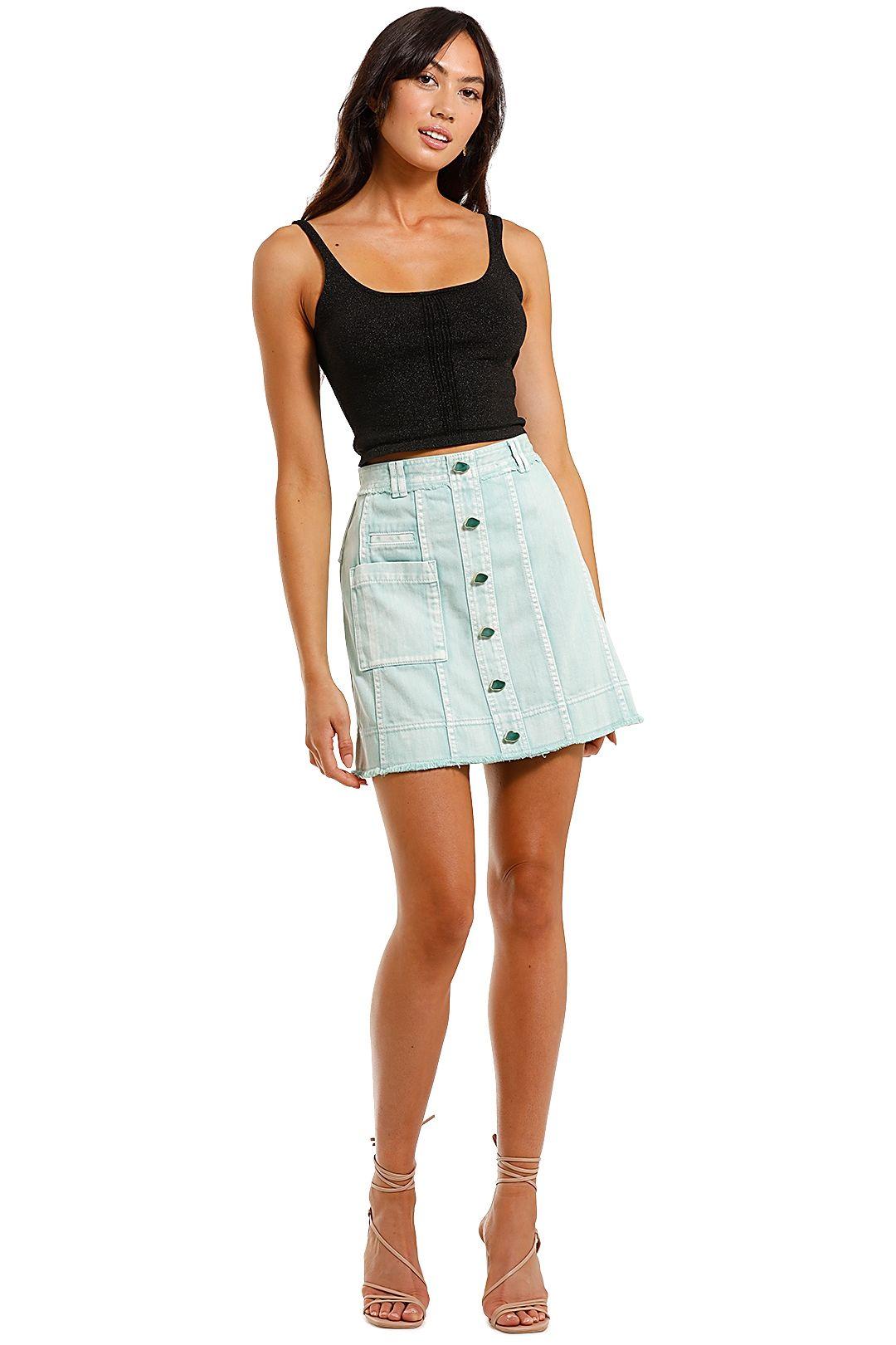AJE Framework Denim Pocket Skirt