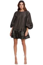 AJE Gracious Smock Dress Khaki Matte