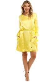 Aje Ingrid Dress Yellow Mini Dress with pockets