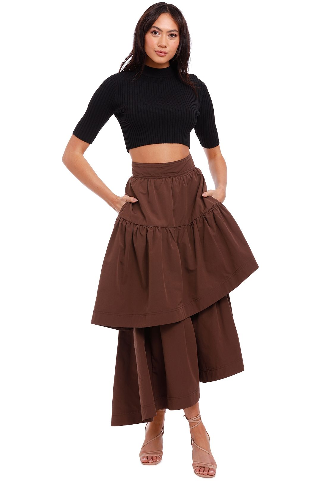 AJE Interlace Midi Skirt brown