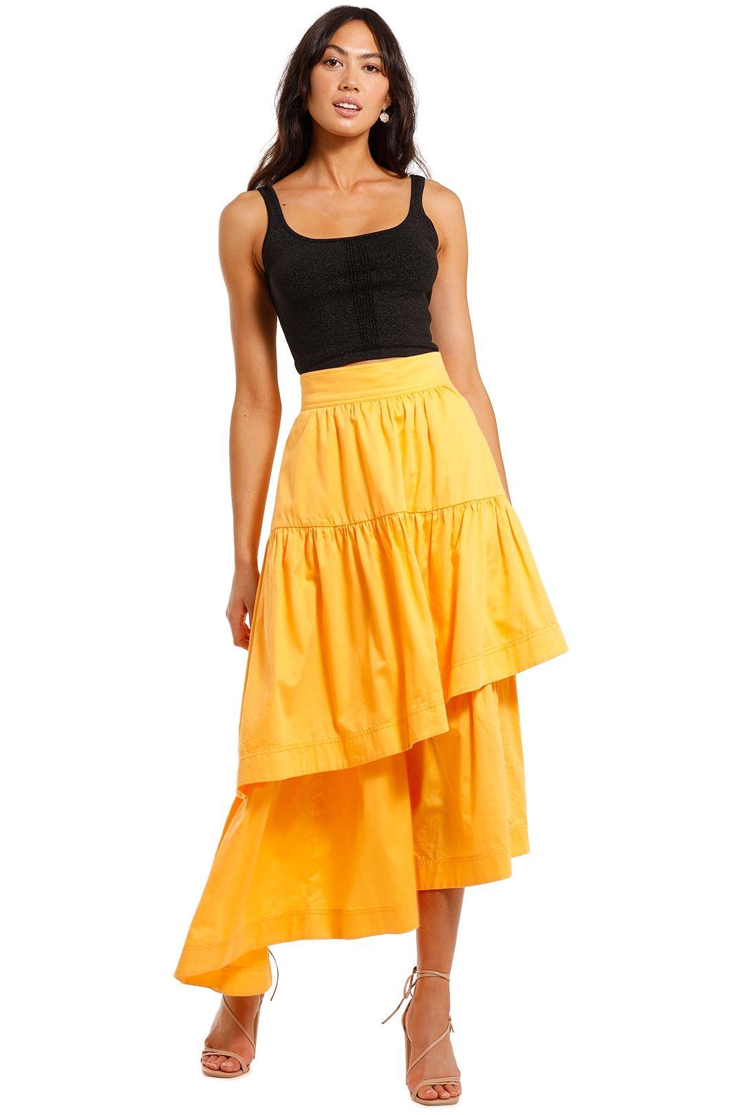 AJE Midsummer Tiered Midi Skirt
