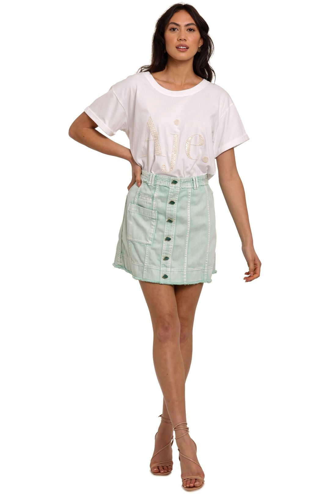 AJE Paperbark Stripe Cotton Logo T-Shirt sequin