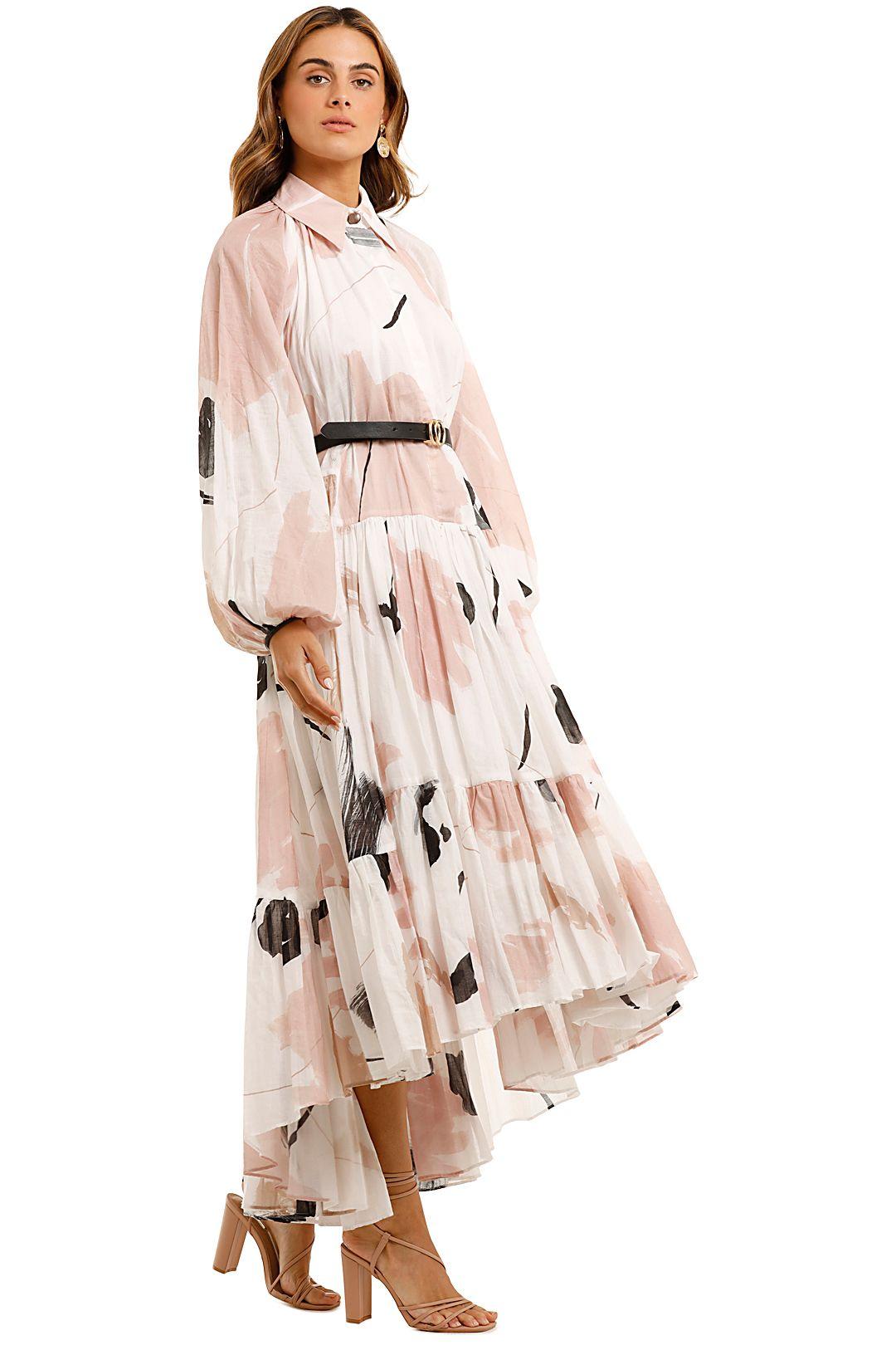 AJE Serenity Smock Maxi Dress Long Sleeves