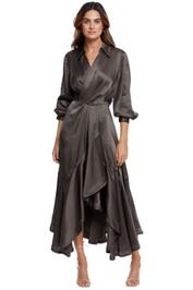 AJE Surrender Drape Dress In Khaki silk satin