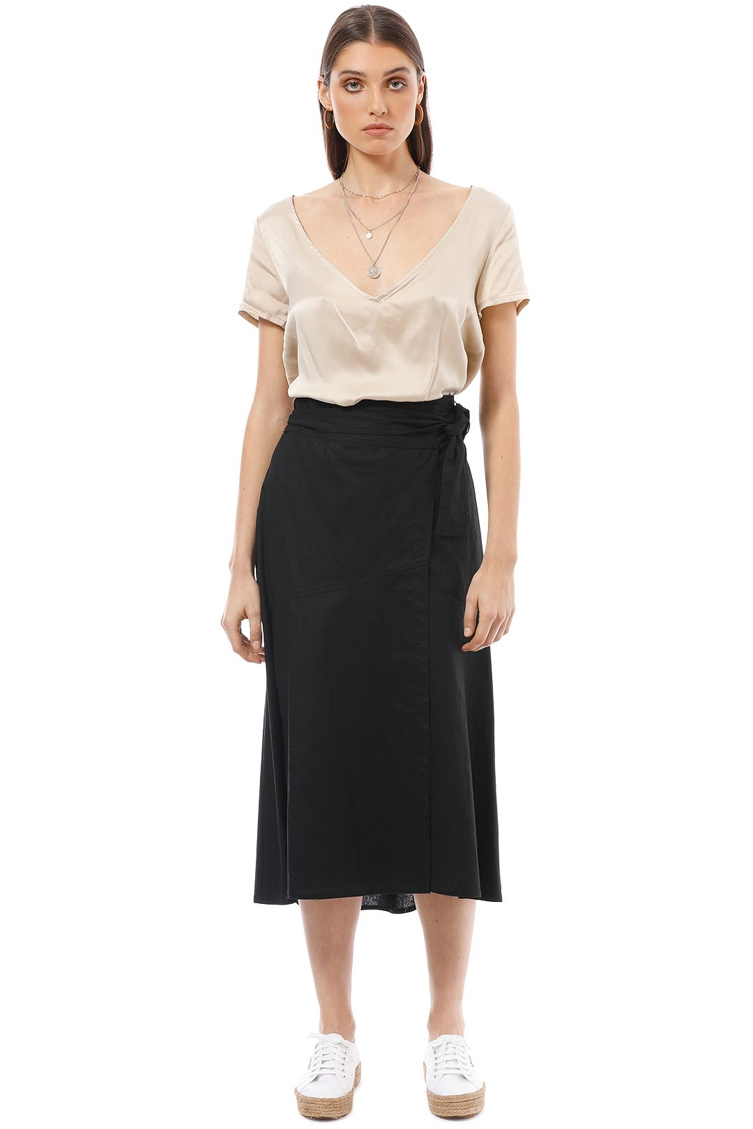AKIN by Ginger and Smart - Grace Wrap Skirt - Black - Front