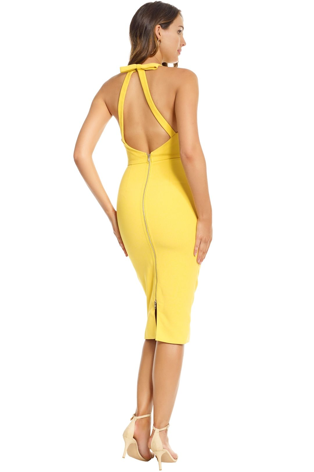 Alex Perry - Aileen Open Back Lady Dress - Yellow - Back
