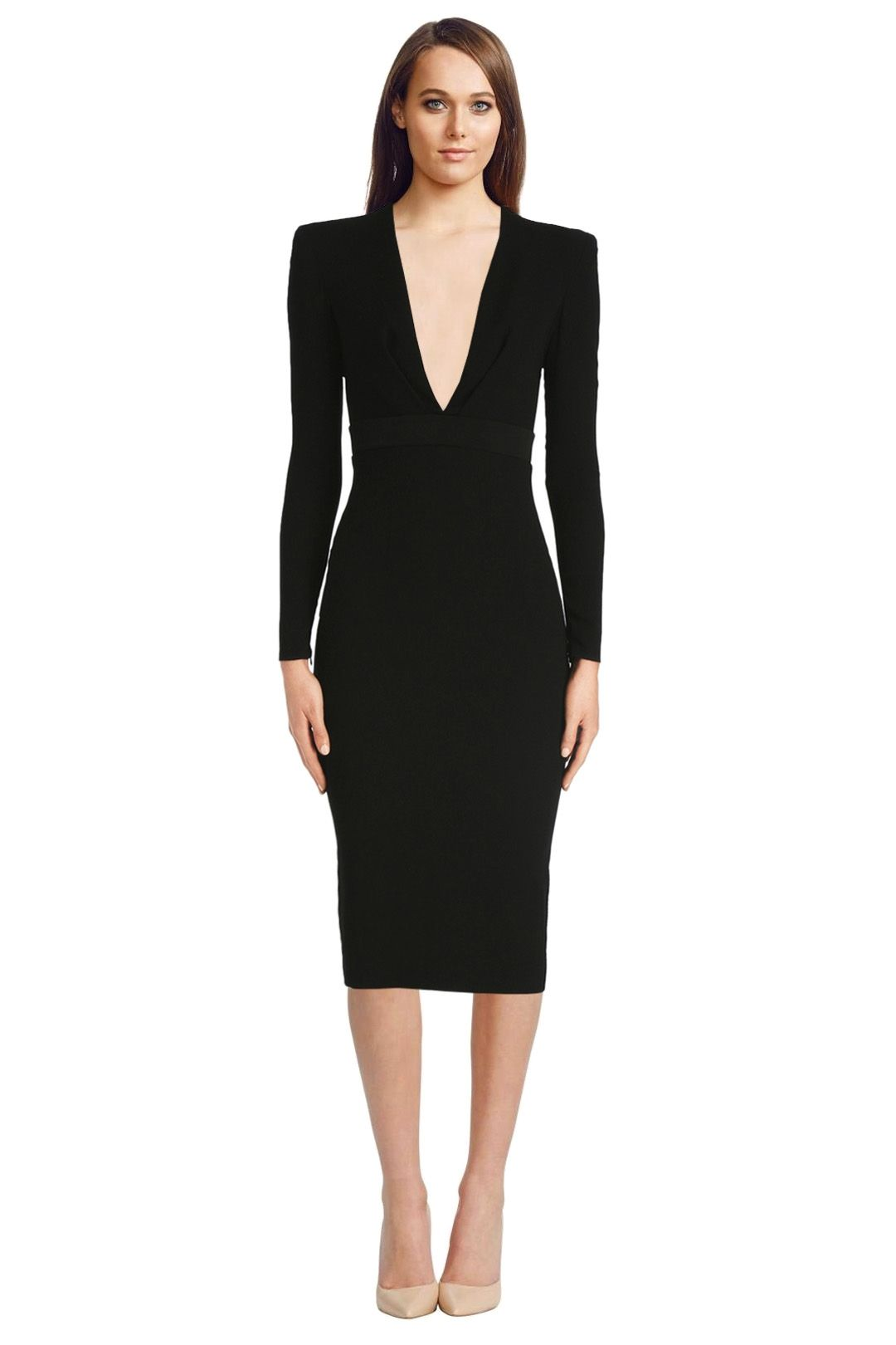 Alex Perry - Nadine Satin Crepe V Pencil Dress - Black - Front