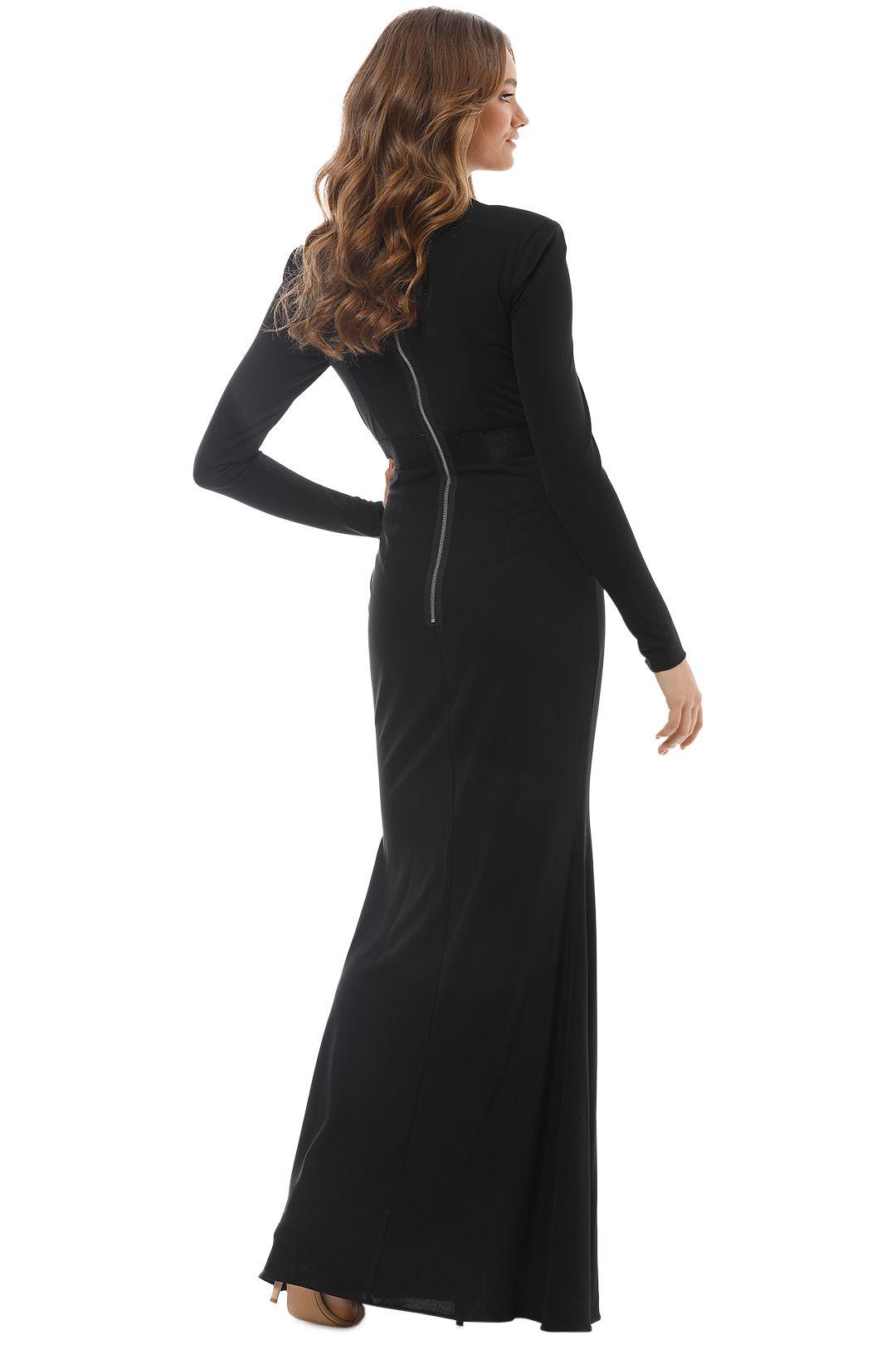 Alex Perry - Nadine V Long Sleeve Gown - Black - Back
