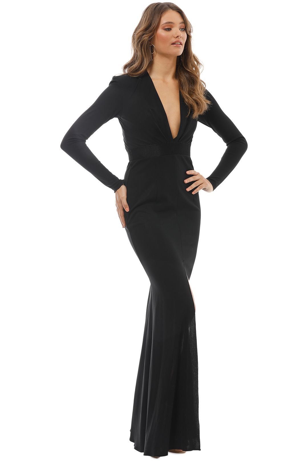 Alex Perry - Nadine V Long Sleeve Gown - Black - Side
