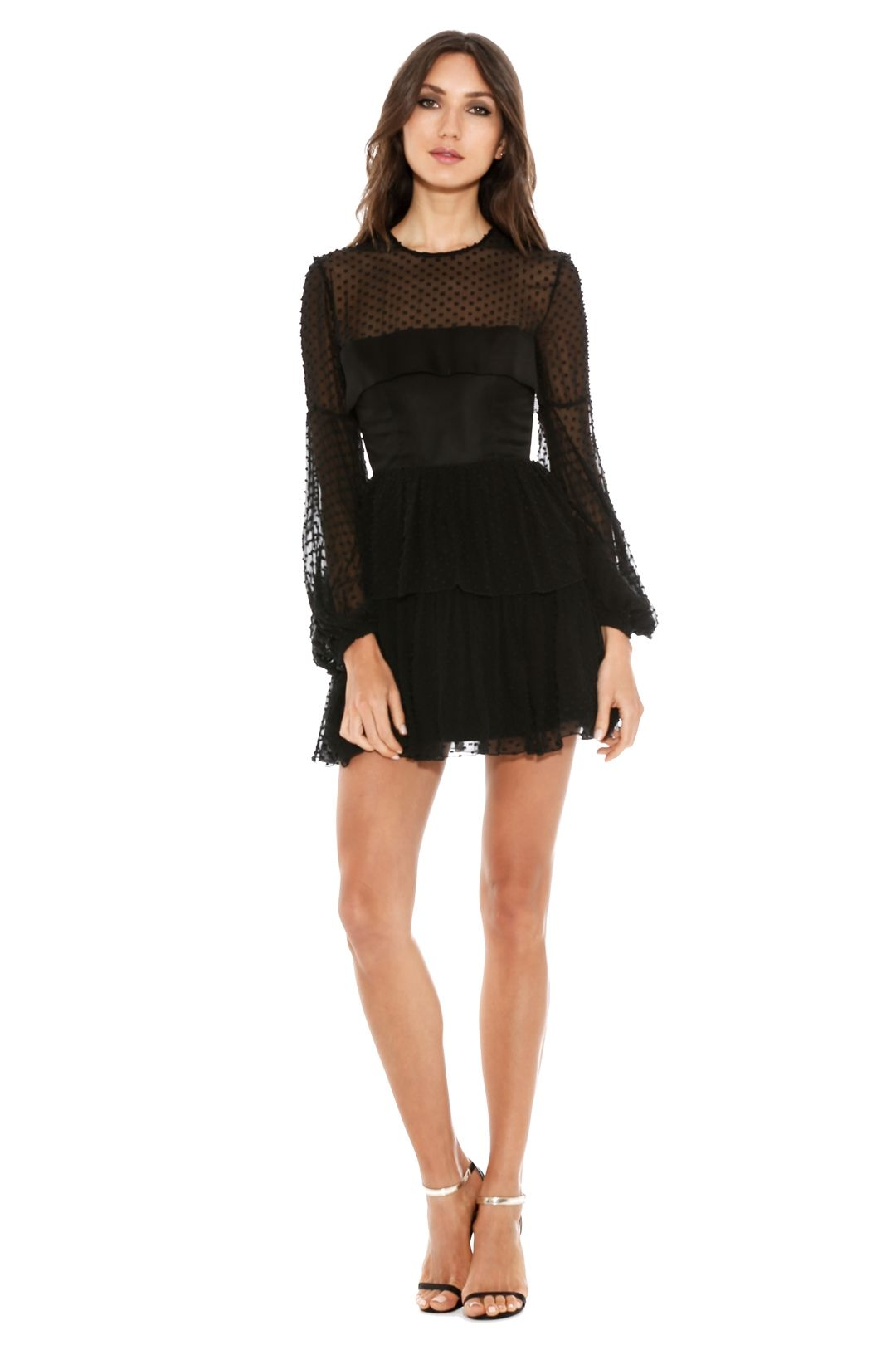 Alex Perry - Valerie Silk Cotton Mini Dress - Black - Front