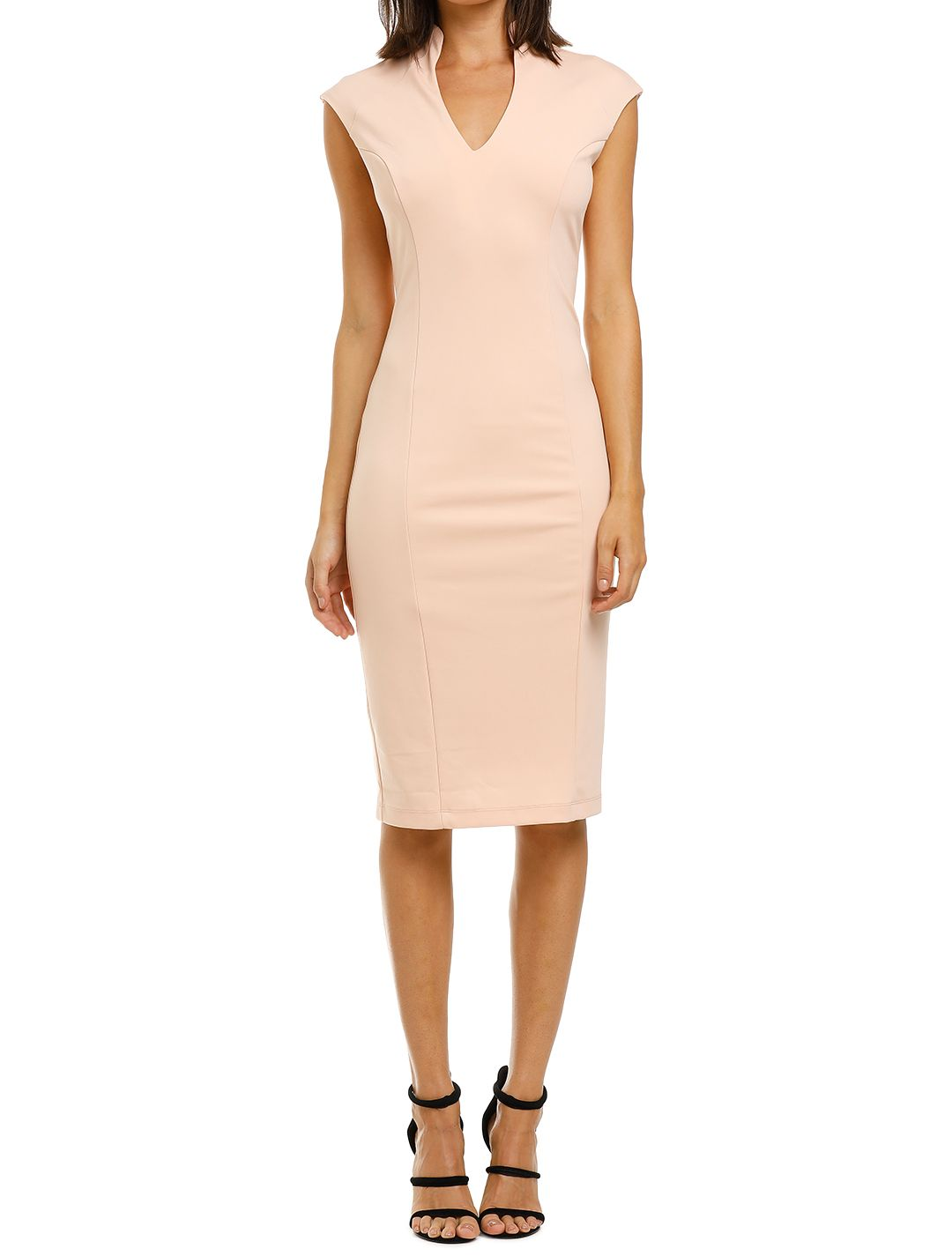 Alexia-Admor-Katrina-V-Neck-Midi-Dress-Blush-Front