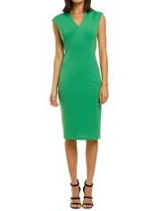 Alexia-Admor-Katrina-V-Neck-Midi-Dress-Green-Front