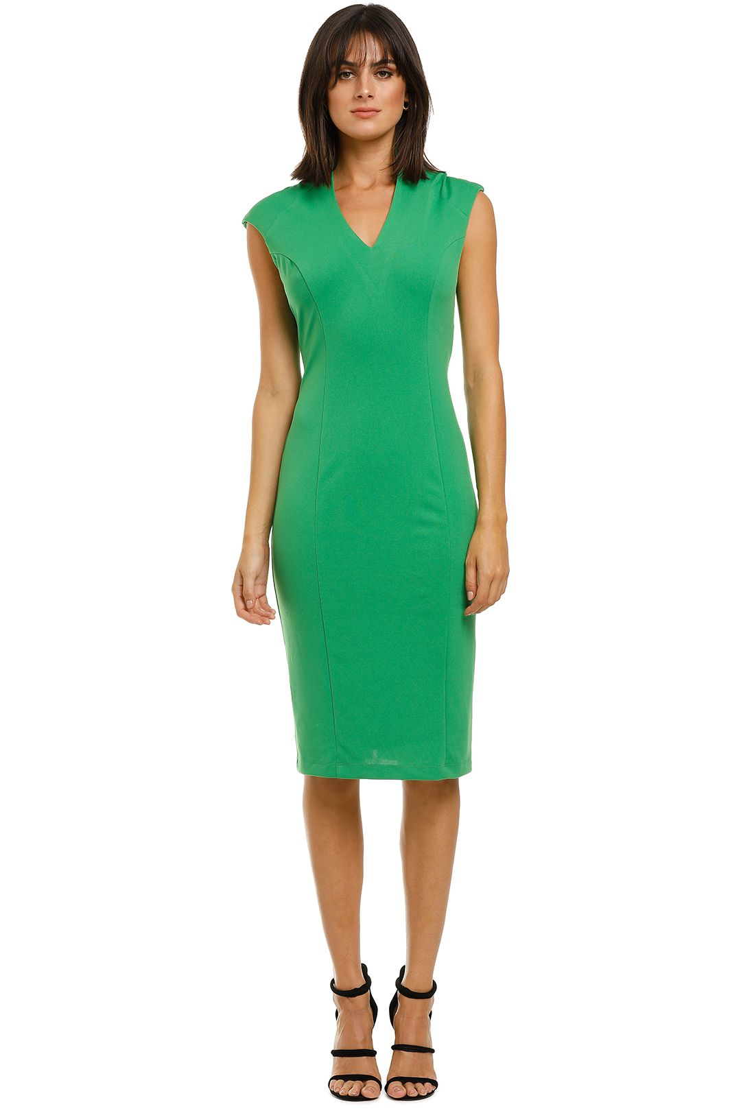 Alexia-Admor-Katrina-V-Neck-Midi-Dress-Green-Front