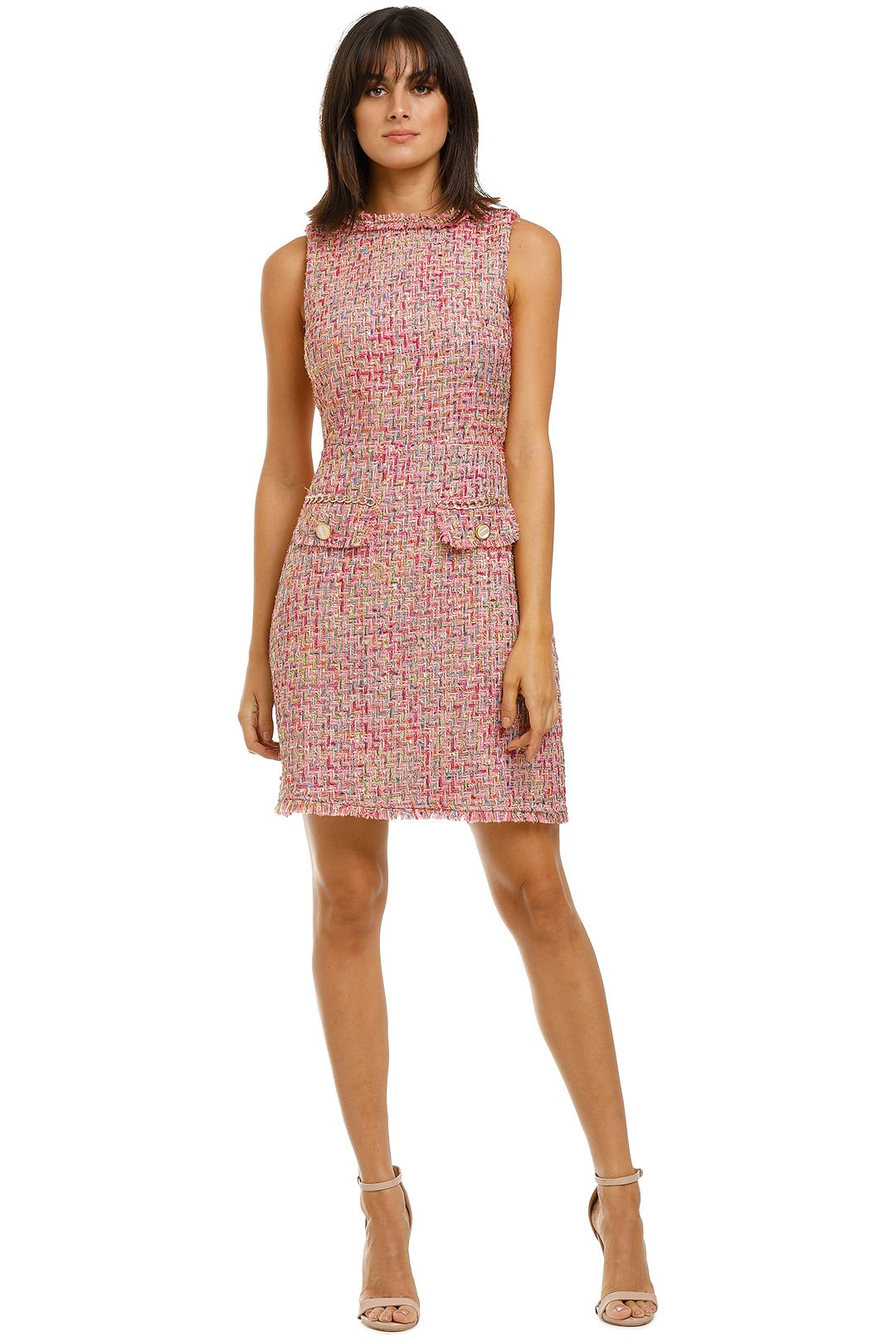 Alexia-Admor-Klara-Tweed-Dress-Pink-Front