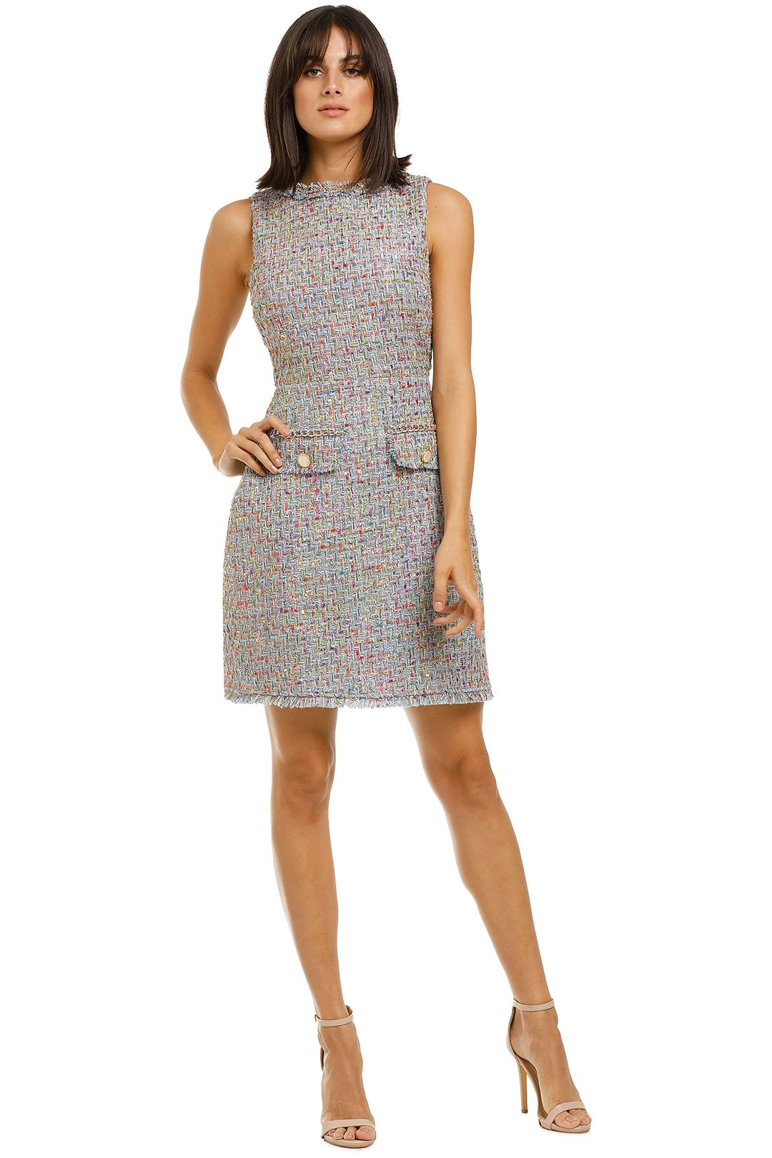 Alexia-Admor-Klara-Tweed-Dress-Sky-Blue-Front
