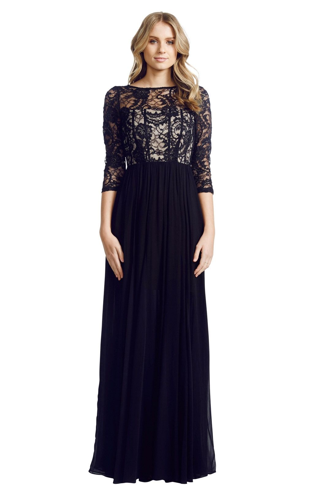 Alice and Olivia - Robinson Sequined Lace and Silk-Georgette Gown - Black - Front
