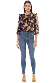 Alice McCall - Diamond Eyes Blouse - Black Floral - Front