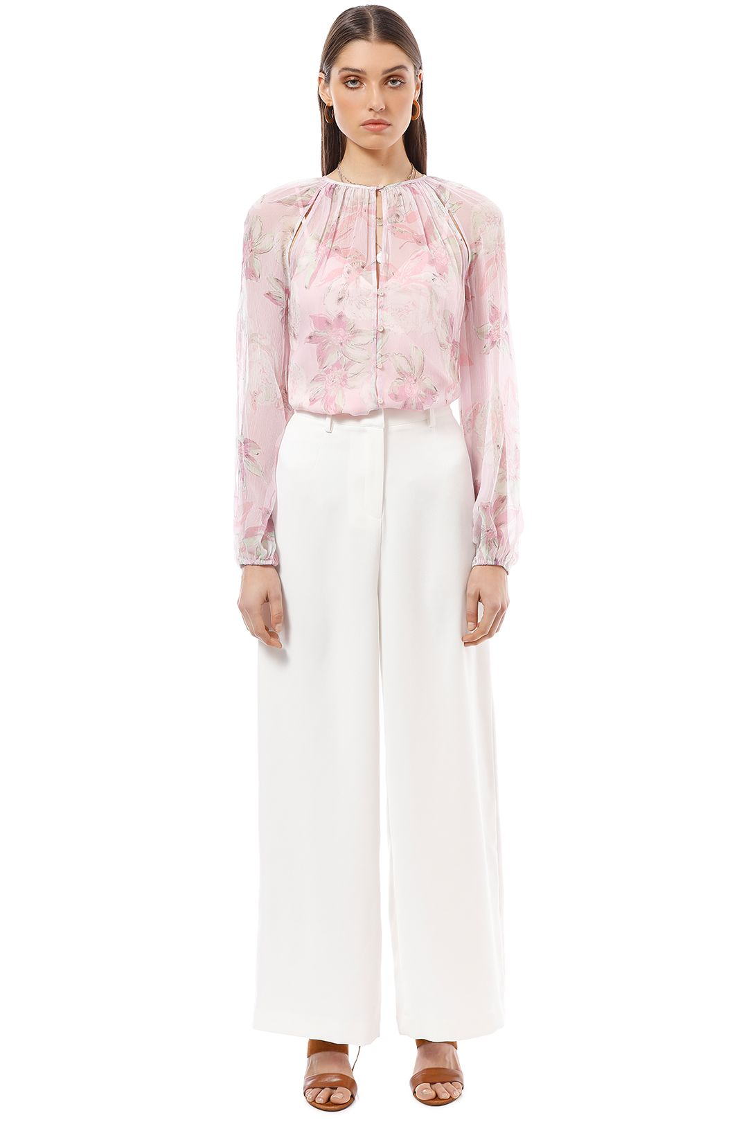 Alice McCall - Watercolour Floral Blouse - Pink Print - Front