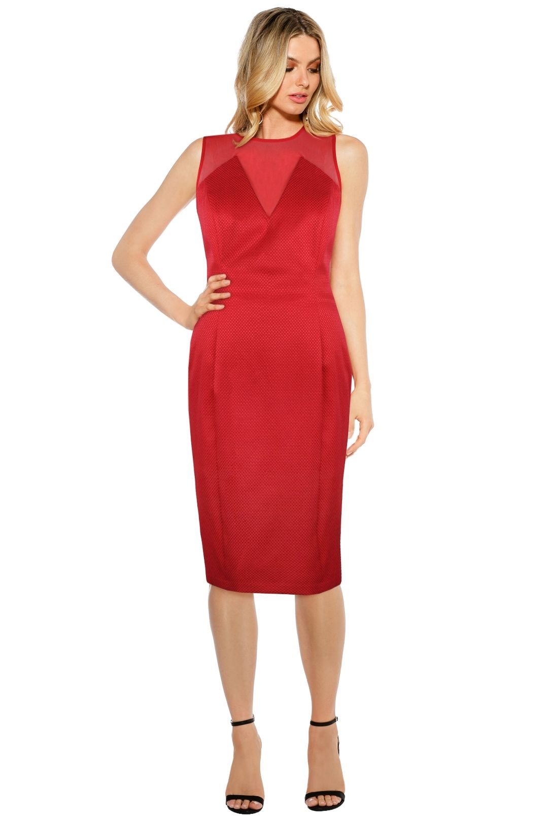 Anna Scholz - Checker Tailoring Mesh Insert Dress - Red - Front