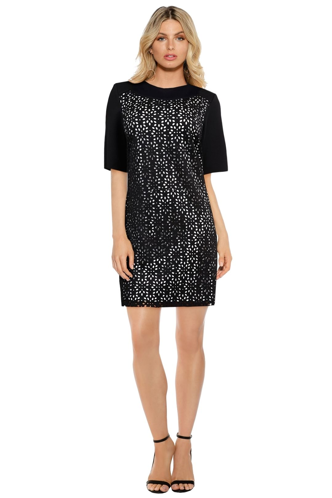 Anna Scholz - Laser Cut Neoprene Tunic - Black - Front