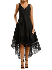 Anthea Crawford Satin Hi Lo Dress Black Lace