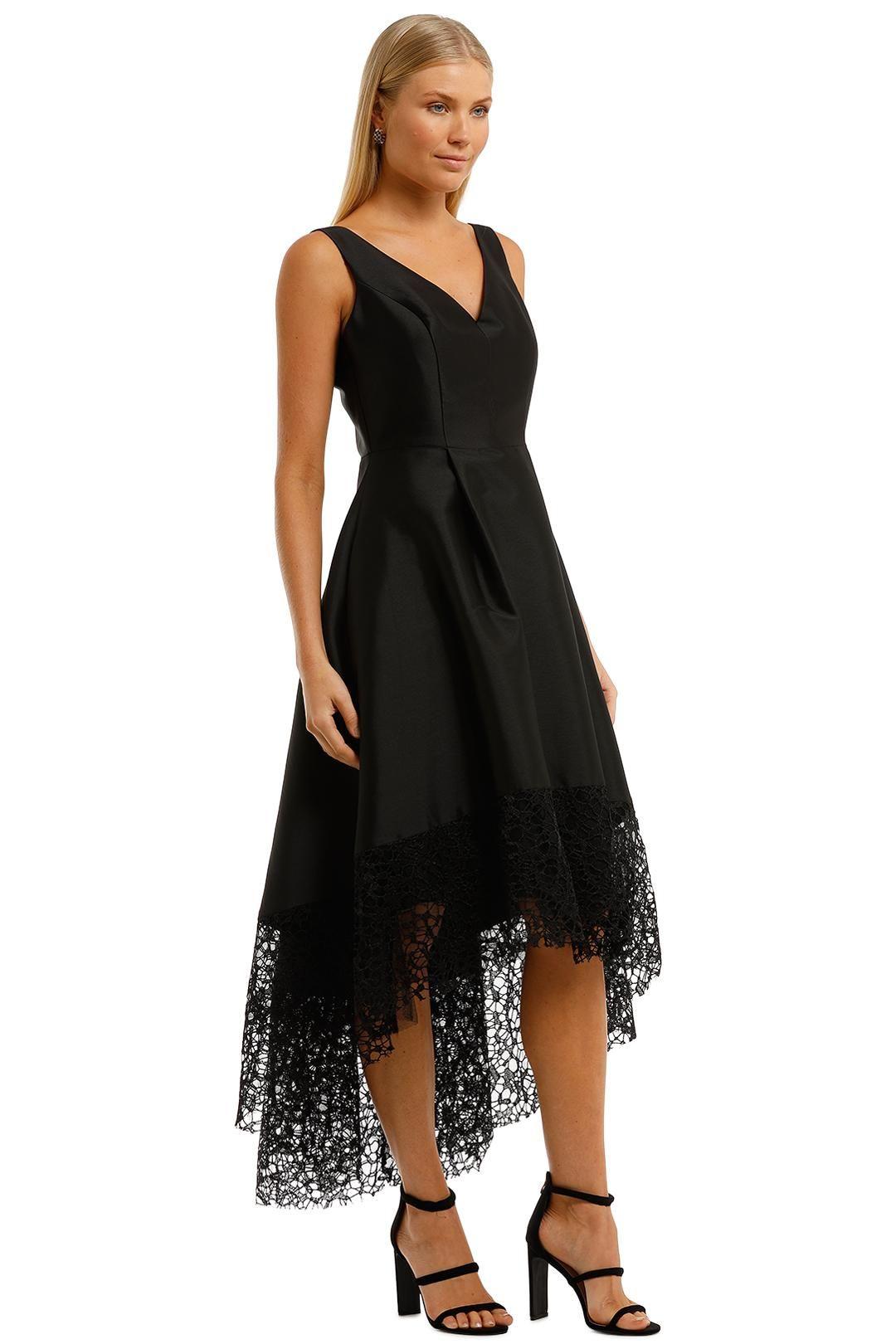 Anthea Crawford Satin Hi Lo Dress Black Sleeveless