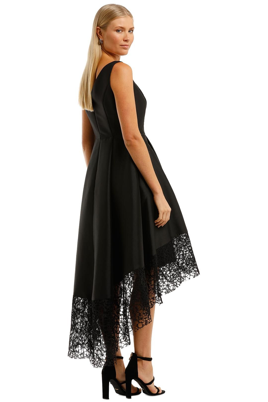 Anthea Crawford Satin Hi Lo Dress Black V Neckline