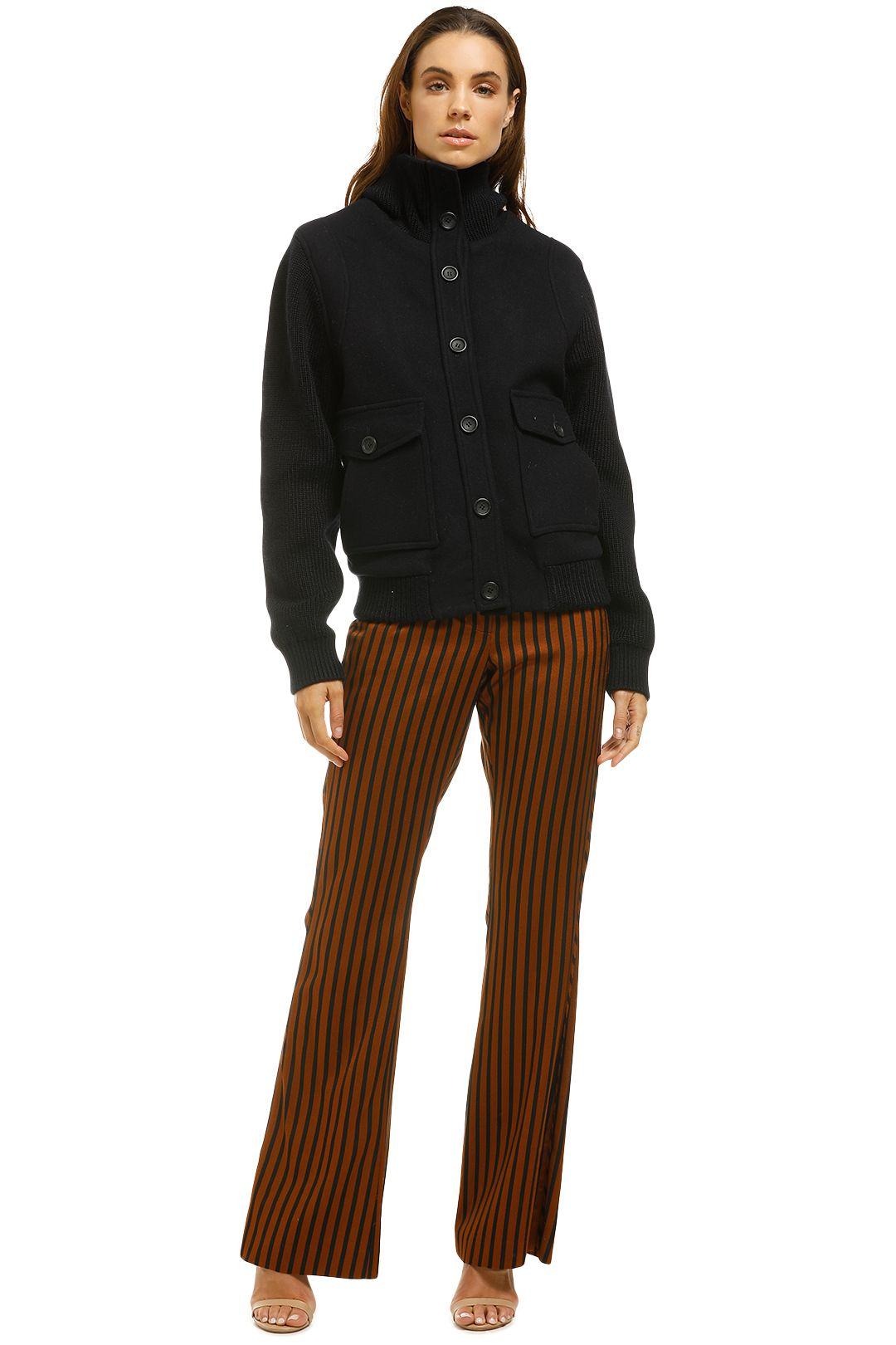 Antik Batik - Corte Ribbed Knit Paneled Wool Blend Jacket-Navy-Front